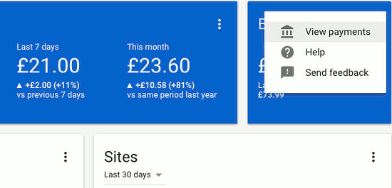 The menu options on the Google AdSense home page