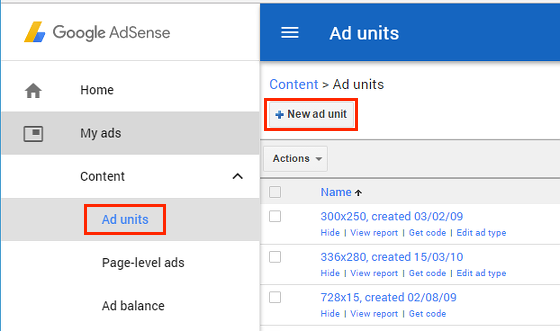 Create a new ad unit using Google AdSense