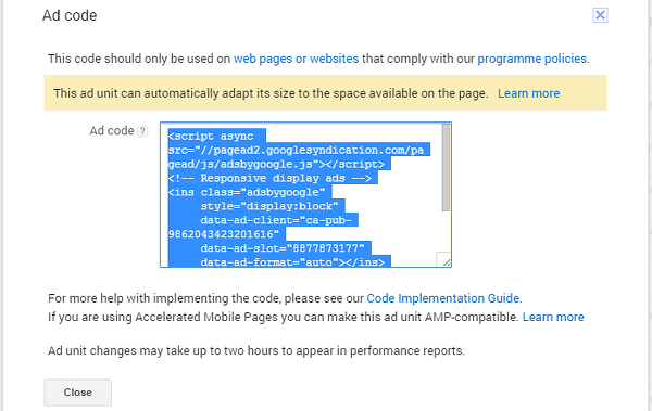 Get the code for an ad unit at the Google AdSense website