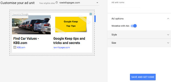 Create a matched content ad at Google AdSense