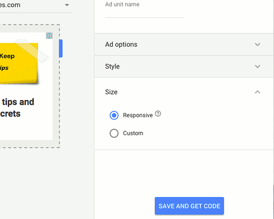 Create a responsive matched content advert using AdSense