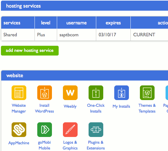 cPanel is a very common interface for administering web hosting accounts