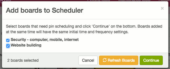 Add Pinterest boards to BoardBooster scheduler