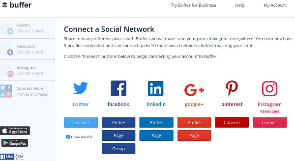 Connect to a social media account at Buffer