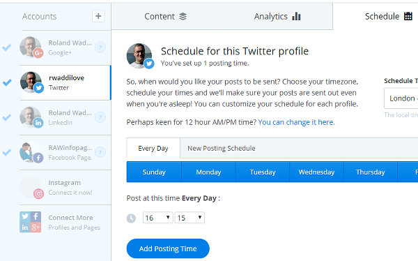 Set a schedule for posting social media updates at the Buffer website
