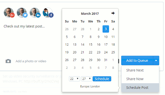 Schedule a social media post at the Buffer website