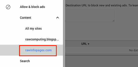Select the site to configure using Google AdSense
