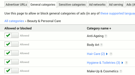 Google AdSense categories