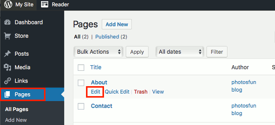 View a list of pages in WordPress and edit one