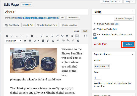 Create an About page in WordPress