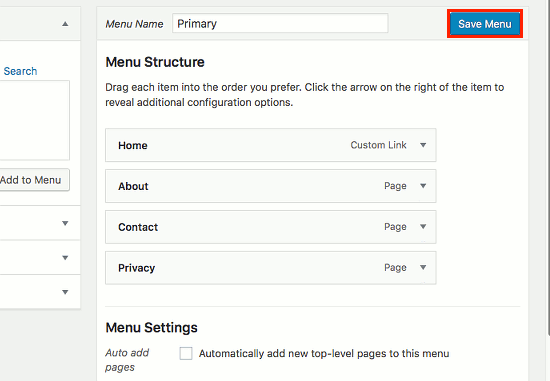Add a page to a menu in WordPress