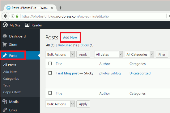 Create a new post in WordPress