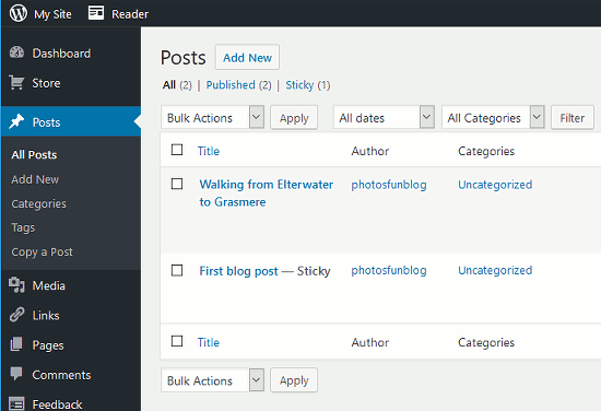 View the posts you have created in WordPress