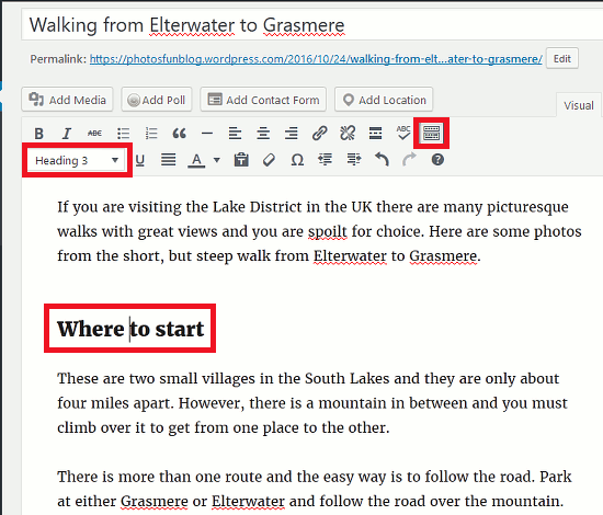 Expand the toolbar in the WordPress editor and use the extra formatting functions