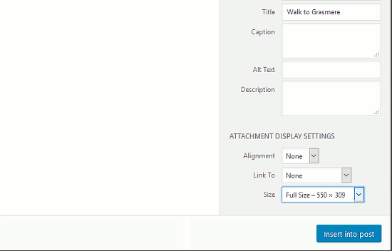 Select the alignment and other options when inserting images into WordPress posts