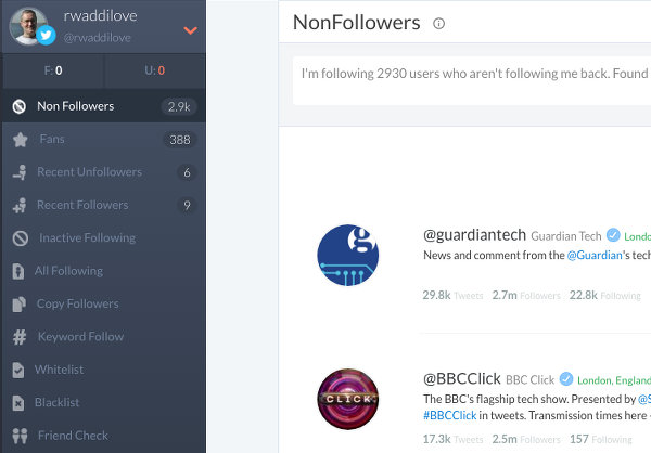 See who isn't following you on Twitter using Crowdfire
