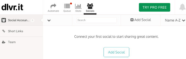 The Socials page on the Dlvr.it website