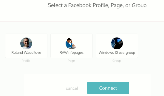 select the Facebook account to connect to at the Dlvr.it website