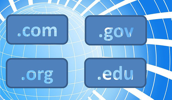 Domain name suffixes such as .com and .org