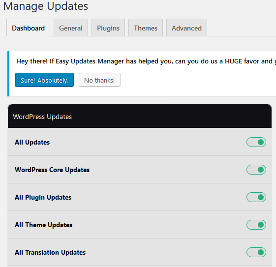 Easy Updates Manager plugin for WordPress controls updates