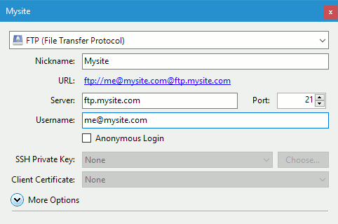 Configure an FTP site in Cyberduck for Windows
