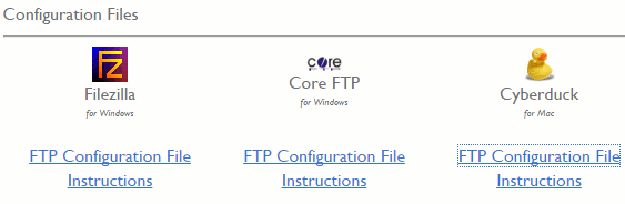 FTP configuration files provided by the web hosting company