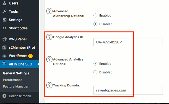 Google Analytics in the All-in-One SEO WordPress plugin
