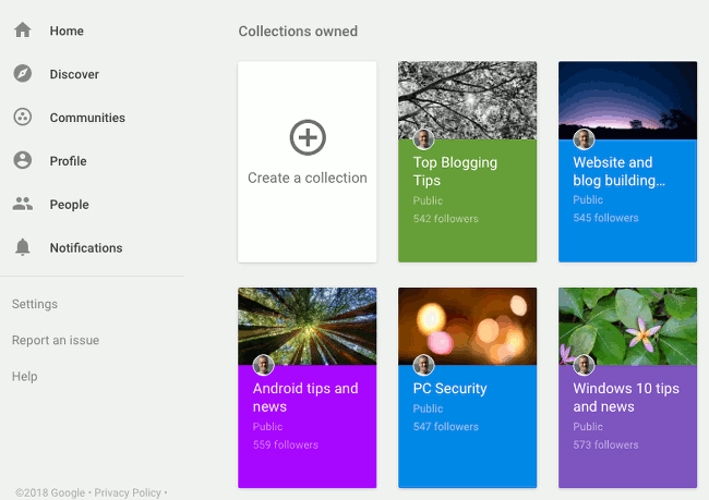 Use Google+ collections to store posts with a common topic