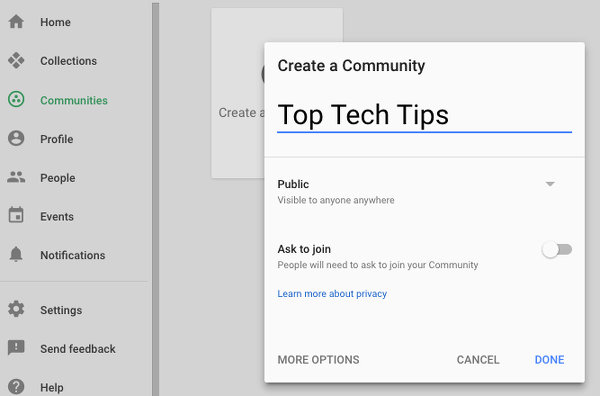 Create a community on Google+