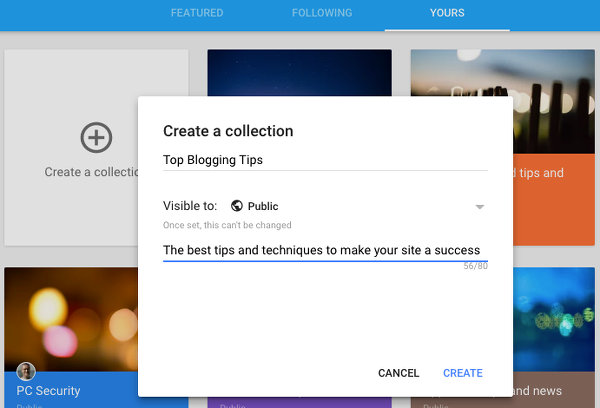 Create a Google+ collection