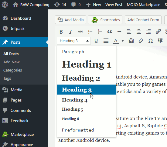 Select a heading when editing a WordPress post