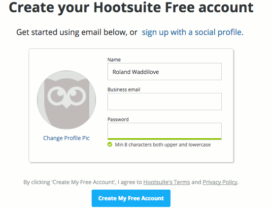 Get a free account at the Hootsuite website