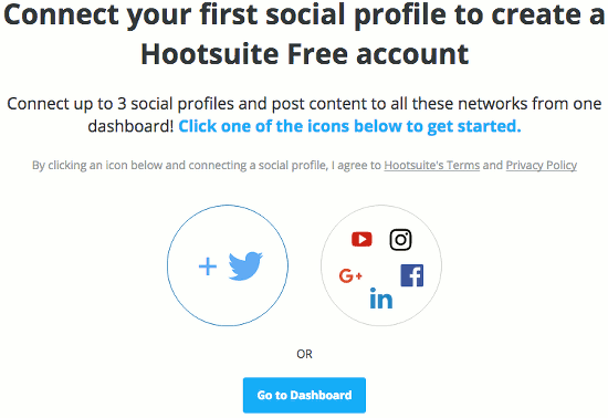 Add a social media account at the Hootsuite website