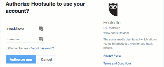 Authorise Hootsuite to access your social media account