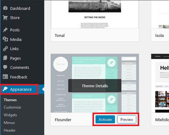 Explore the WordPress theme gallery