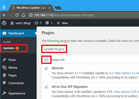 Update WordPress plugins through the Dashboard