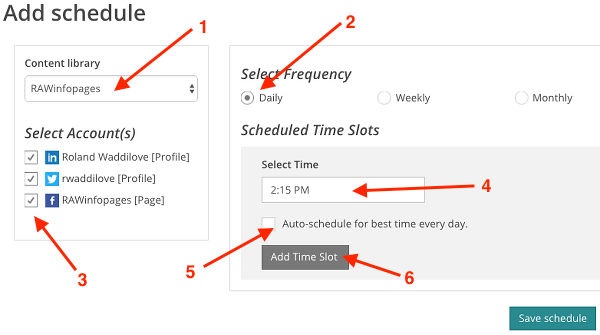 Set a posting schedule for sharing on social media at Recurpost