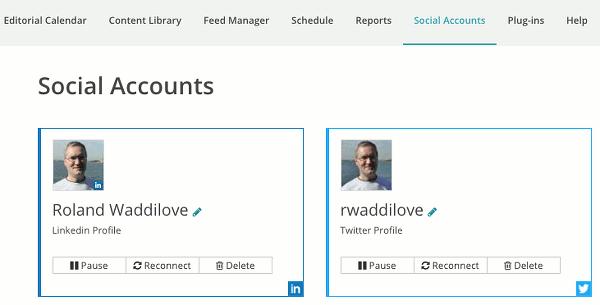 Social accounts in Recurpost
