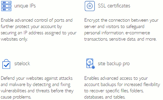 Security options with web hosting