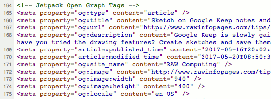 Web page source code showing meta tags