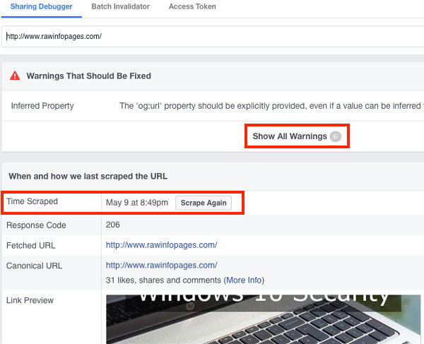 Use Facebook debugger to find problems with social shares