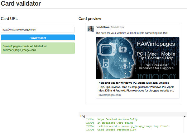 Twitter card validator checks that your website posts contain the necessary information to display Twitter cards