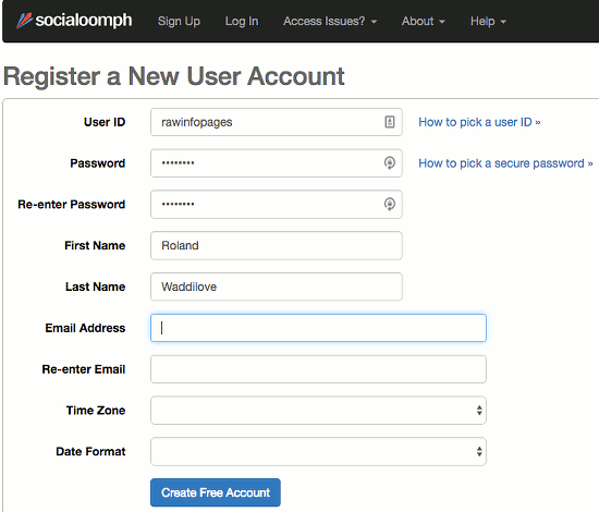 Create a free account at the Social Oomph website
