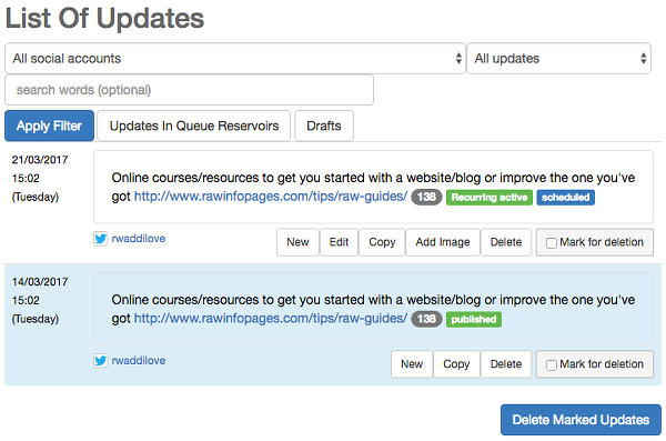 View past and future updates at the social Oomph website
