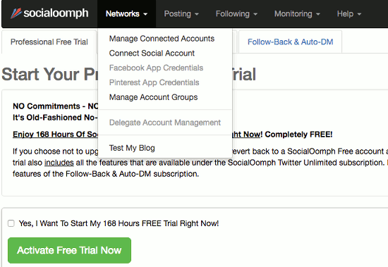 The Networks menu at the Social oomph website