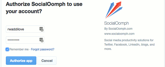 Authorise Social Oomph to access your Twitter account