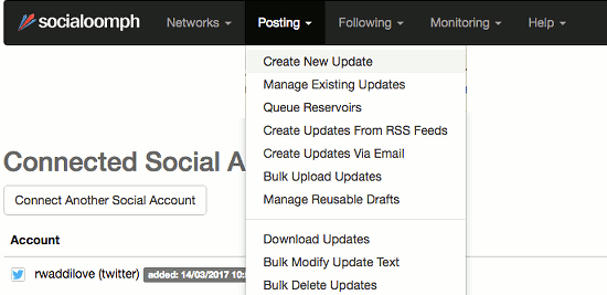 The Posting menu at the Social Oomph website