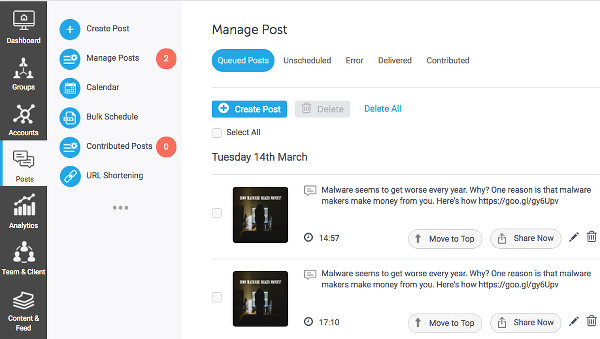 Manage your updates queue with SocialPilot