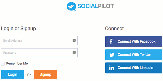 Sign up to SocialPilot with a social media account