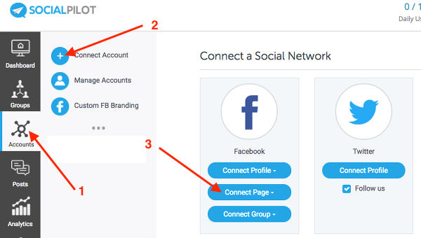 Select a social account and authorise it in SocialPilot
